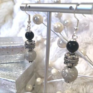 Handmade Sterling Earrings Black Onyx Pewter Pave